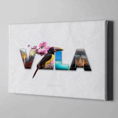 Artiful VZLA Folklore Letters Canvas Art - white