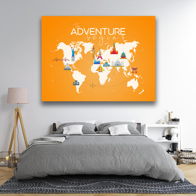Adventure begins Canvas Wall Art - Artiful Travel Art Collections