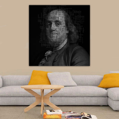 Artiful Benjamin Franklin Cryptocurrency Canvas Wall Art - Crypto collection