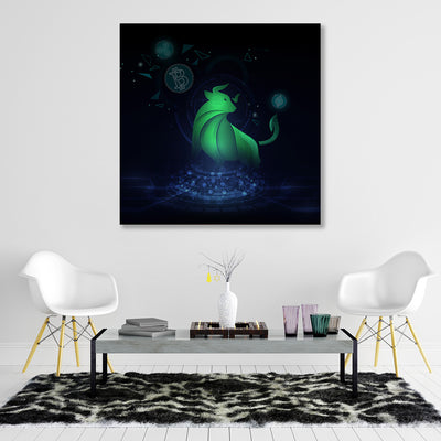 Crypto Bull Hologram Canvas Wall Art - Artiful Art Collection