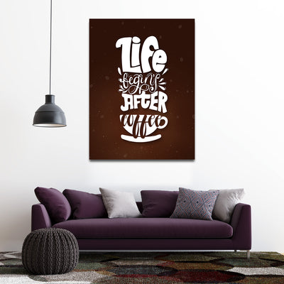 Artiful Life begins after coffee Canvas Wall Art - Coffee Art Collection