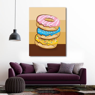 Artiful Donut Palette Canvas Wall Art - Decor Doughnut Collection