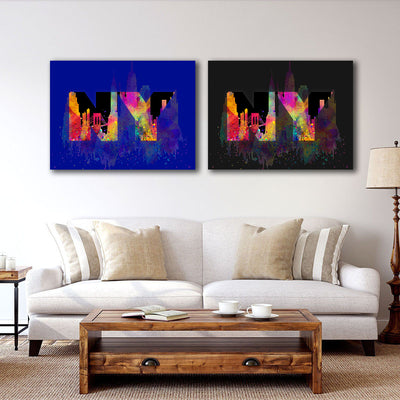 Artiful Welcome to New York Canvas Wall Art - Blue and Black - NY - CIty art