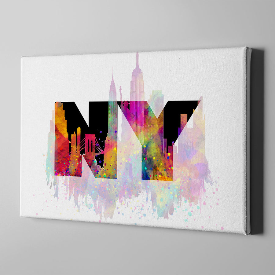 Artiful Welcome to New York Canvas Wall Art - Yellow - NY - CIty art