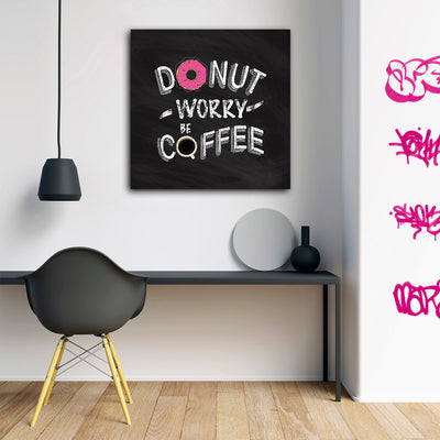 Artiful Donut Worry Be Coffee Canvas Wall Art - home and office motivation