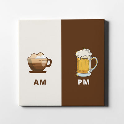 AM-PM Coffee & Beer Canvas Art - Artiful Art Collection