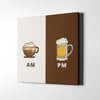 AM-PM Coffee & Beer Canvas Wall Art - Artiful Art Collection