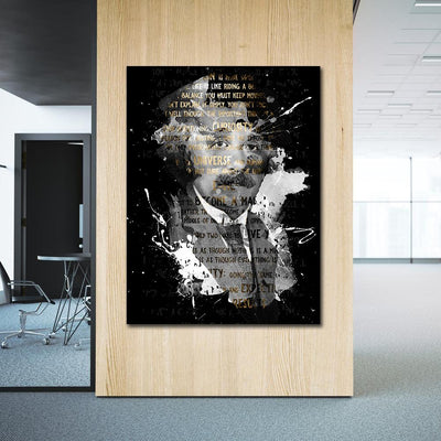 Artiful Albert Einstein wall art on black canvas