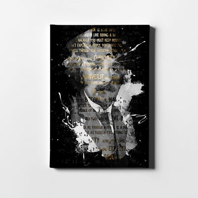 Artiful Albert Einstein quotes art on black canvas