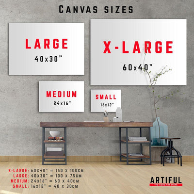 Artiful Canvas sizes represented on a wall. Best wall art in every size