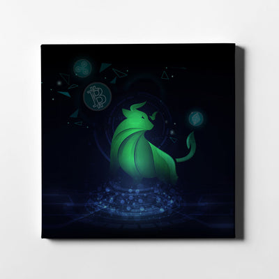 Crypto Bull Hologram Canvas Art - Artiful Crypto Art Collection