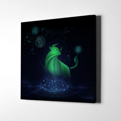 Crypto Bull Hologram Canvas Wall Art - Artiful Crypto Art Collection
