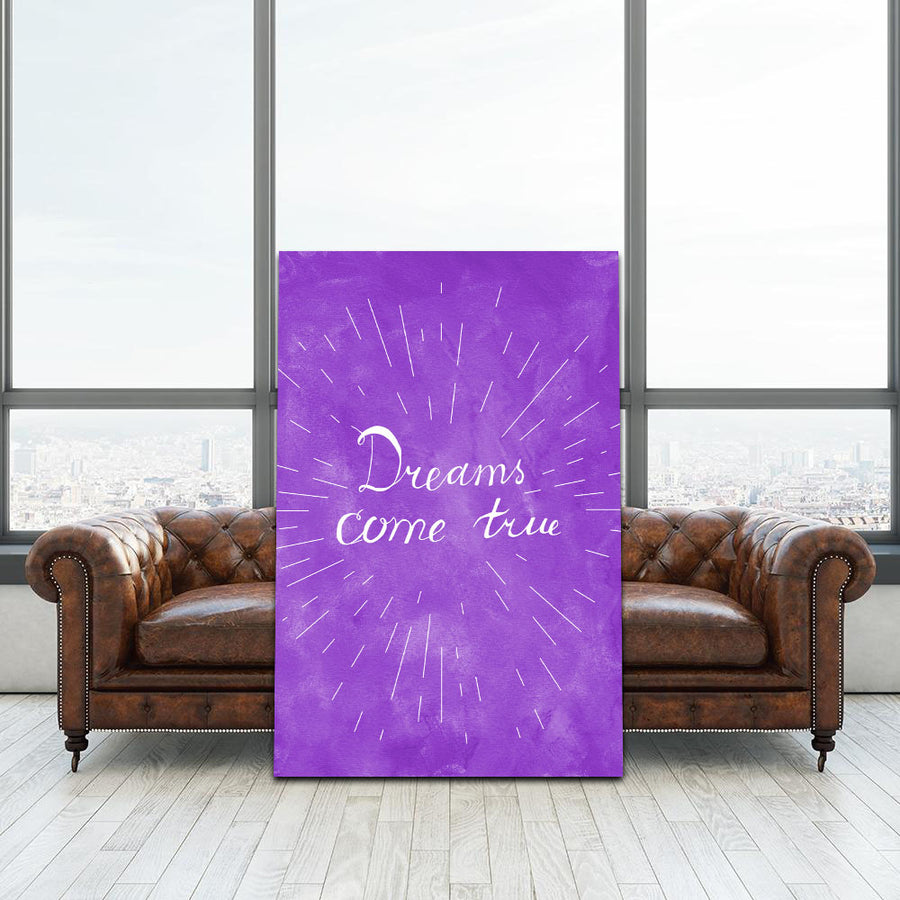 Beautiful Dreams Come True Canvas Wall art. Inspiring dreams in purple