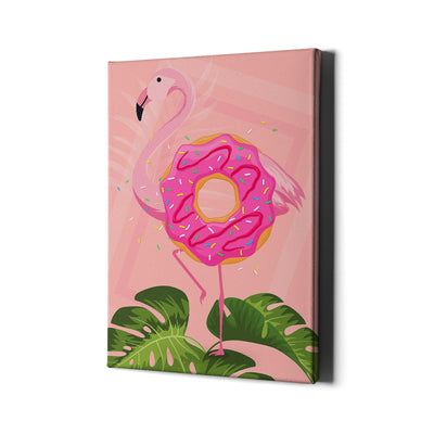 Flamingo Donut Canvas Wall Art - Artiful Pink Art Collection