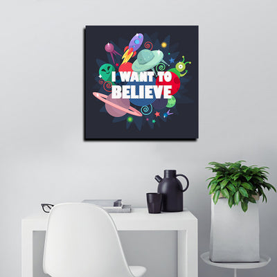Artiful I Want to Believe Canvas Wall Art - UFO - Aliens - X Files