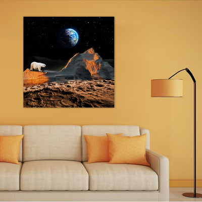 Artiful Lost Polar Bear Canvas Wall Art - Space collection