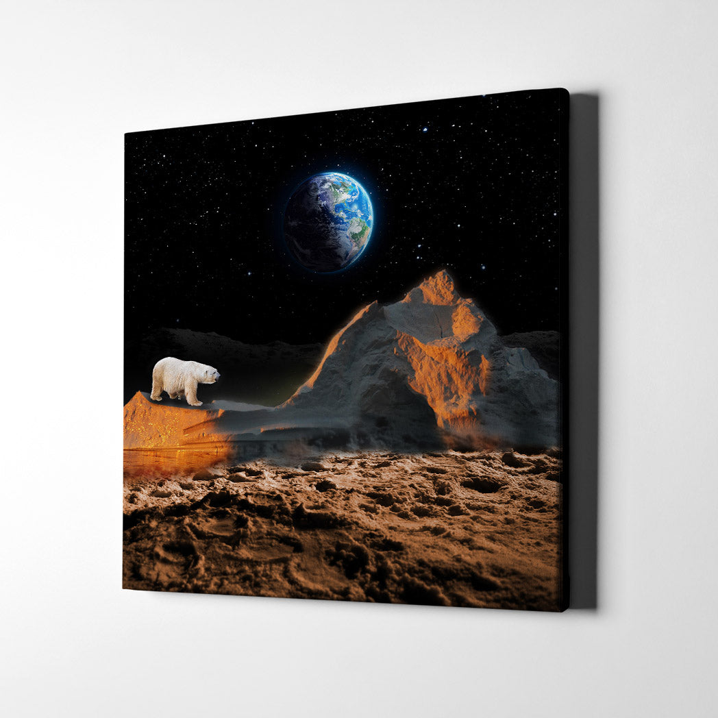 Artiful Lost Polar Bear Canvas Wall Art