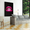 Magenta Lips on Black office and home decor - Printed Canvas - Best Canvas Wall Art - Artiful.org