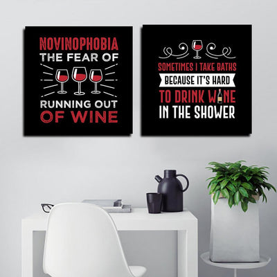 VINO Canvas Funny Wall Art - Artiful Funny Wine Art Collection