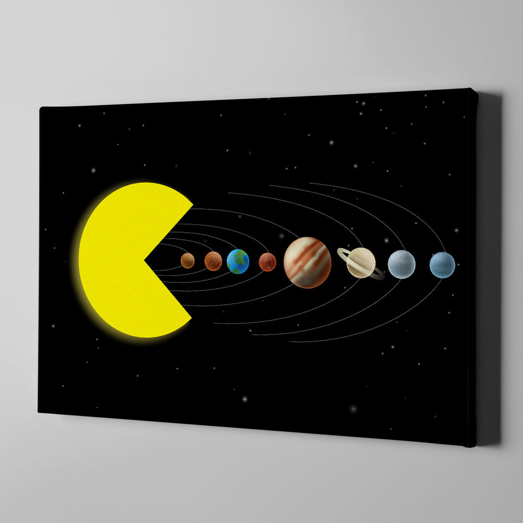 Artiful Pac-Man Solar System Canvas Wall Art