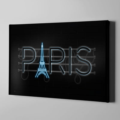 Paris Neon Sign Canvas Art - Artiful Travel Art Collections