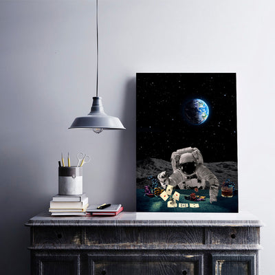 Artiful Poker Player Astronaut Wall Art