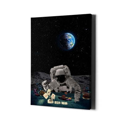 Artiful Poker Player Astronaut Canvas Art