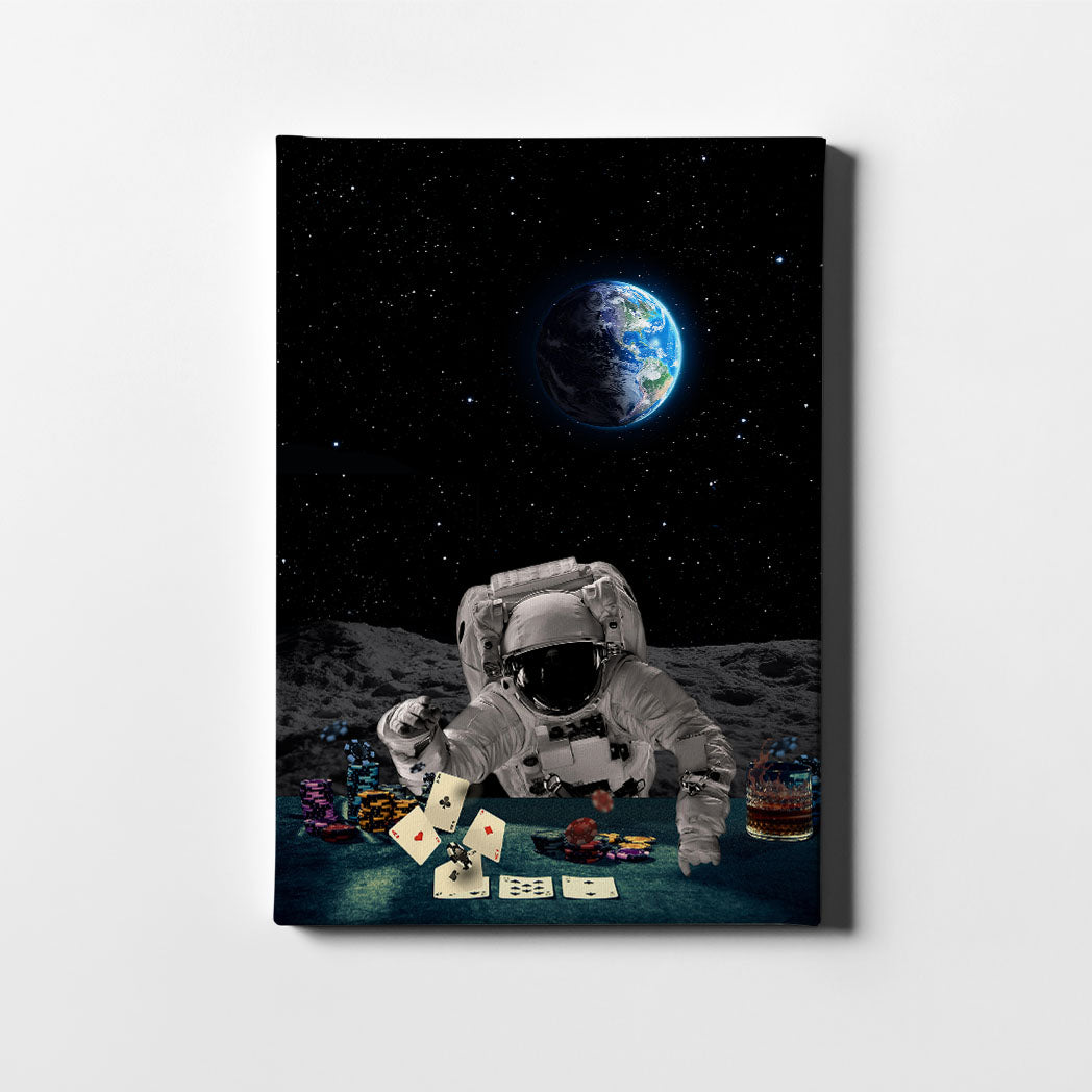 Artiful Poker Player Astronaut Canvas Wall Art