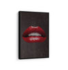 Artiful Red Lips on Brown Canvas Wall art, Lips collection