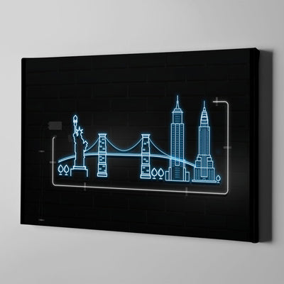 Skyline Neon Canvas Art by Artiful the good art store