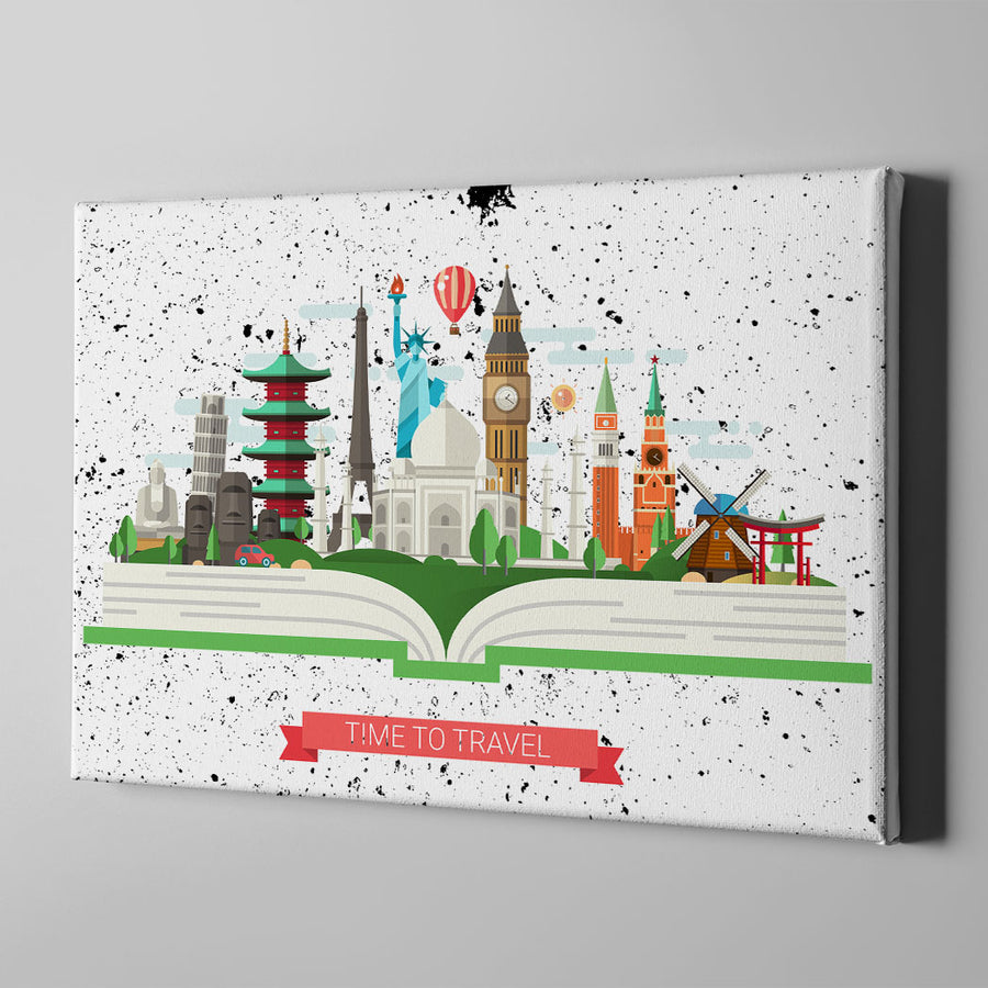 Time to Travel Canvas Wall Art - Artiful Travel Art Collections