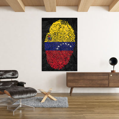 Venezuelan Fingertip flag on Black office and home decor - Printed Canvas - Best Canvas Wall Art - Artiful.org