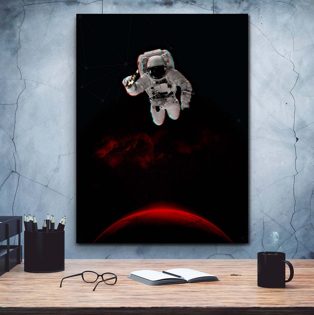 Artiful Astronaut on Mars with a Beer canvas