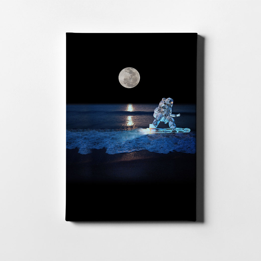 Artiful Surfing Astronaut Canvas Wall Art