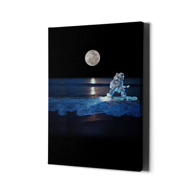 Artiful Surfing Space Astronaut on Canvas Cosmos Wall Art.