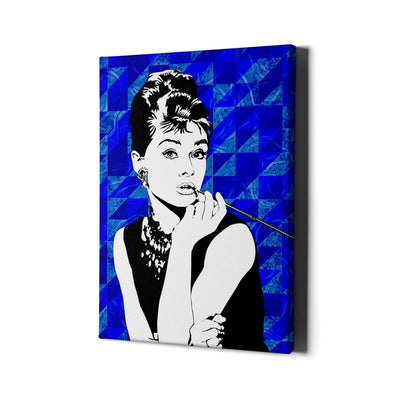 Artiful Audrey Hepburn beautiful blue canvas art