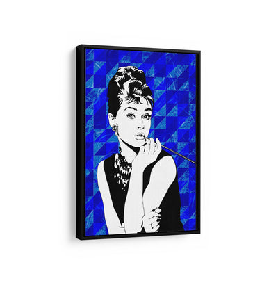 Artiful Audrey Hepburn Blue Iconic Canvas Wall Art