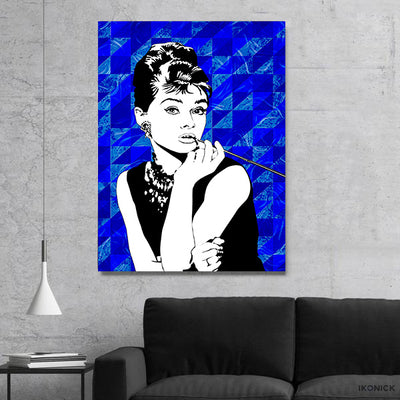 Artiful Audrey Hepburn Blue Iconic Canvas Art, beautiful wall art