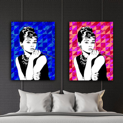 Artiful Audrey Hepburn Blue and red canvas wall art Collection