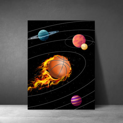 Artiful Basketball Solar System Wall Art - Space canvas