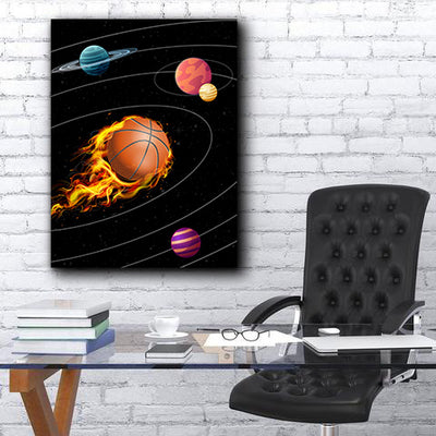 Artiful Basketball Solar System Canvas Space Art