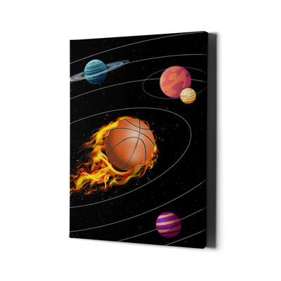 Artiful Basketball Solar System Canvas Wall Art - Space collection