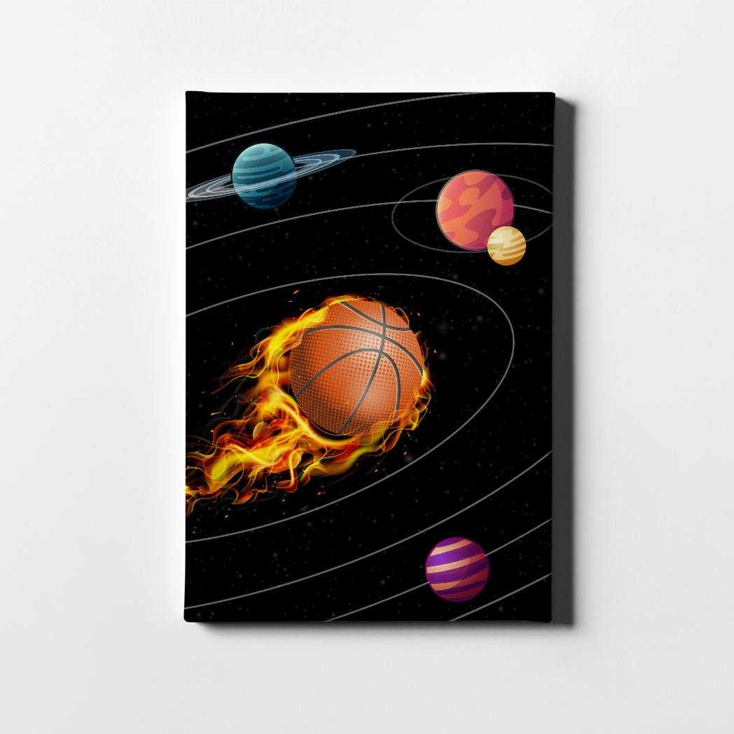 Artiful Basketball Solar System Canvas Wall Art