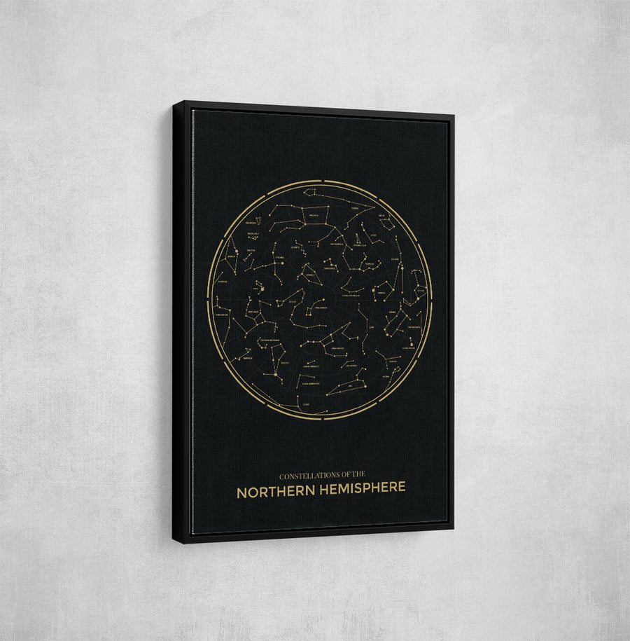 Artiful Black Northern Constellations Printed Canvas art