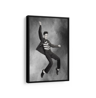 Artiful Elvis Presley on black and white Canvas Wall art, framed