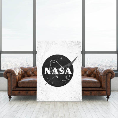 Artiful NASA Logo Black and White Canvas Art