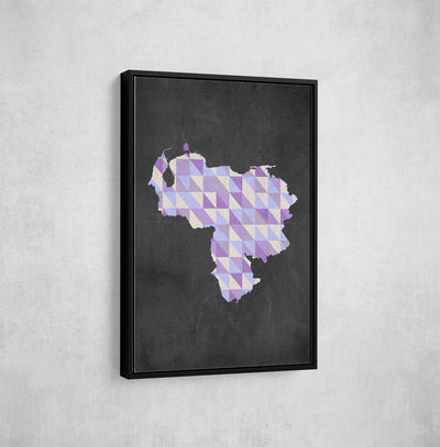 Artiful Purple Venezuelan Map Framed  Wall Art