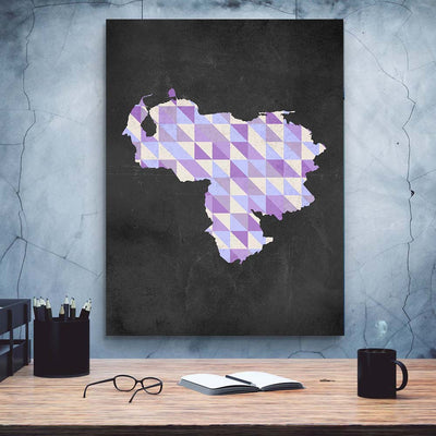 Artiful Purple Venezuelan Map Canvas Wall Art