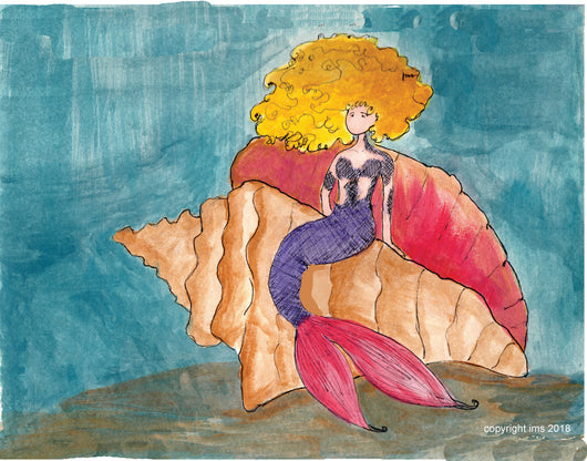 Mermaid in sea shell - Art Print