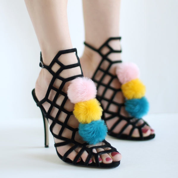 Pink Yellow Teal - Faux Fur Pom Pom Shoe Clips